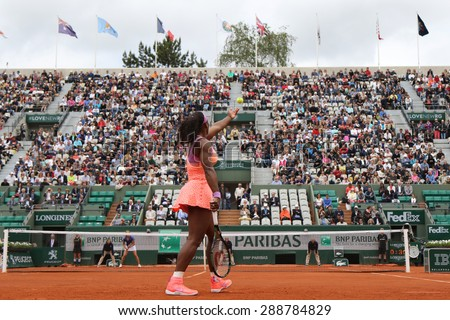 PARIS, FRANCE- MAY 28, 2015: Nineteen times Grand Slam champion Serena Willams during second round match at Roland Garros 2015 in Paris, France - stock photo