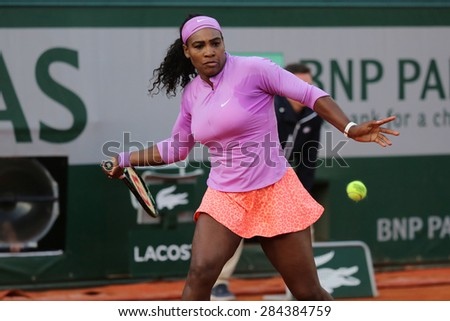 PARIS, FRANCE- MAY 30, 2015: Nineteen times Grand Slam champion Serena Willams during third round match at Roland Garros 2015 in Paris, France - stock photo