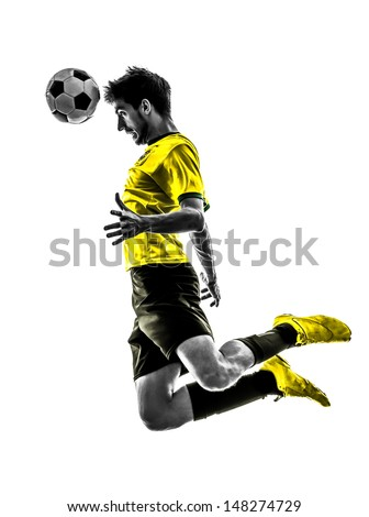 Paris, France - May 3,2013: one brazilian soccer football player young man heading in silhouette at Paris, France on May 3th 2013 - stock photo