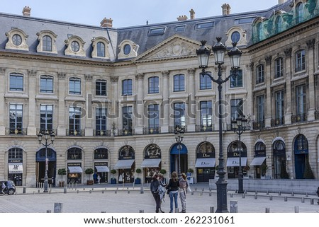 PARIS, FRANCE - MAY 10, 2014: Place Vendome. Place Vendome was laid out in 1702 as a monument to the glory of the armies of Louis XIV. - stock photo