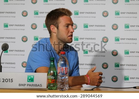 PARIS, FRANCE- MAY 30, 2015: Professional tennis player Jack Sock of United States  during press conference at Roland Garros 2015 in Paris, France - stock photo