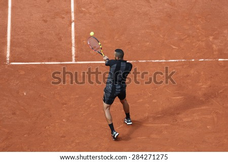 PARIS, FRANCE- MAY 24, 2015: Professional tennis player Jo-Wilfried Tsonga of France during first round match at Roland Garros 2015 in Paris, France