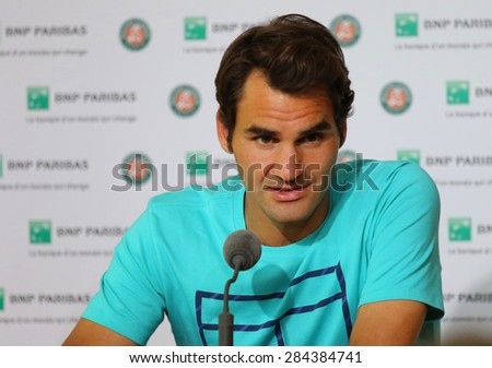 PARIS, FRANCE- MAY 30, 2015: Seventeen times Grand Slam champion Roger Federer during press conference after second round match at Roland Garros 2015 in Paris, France - stock photo