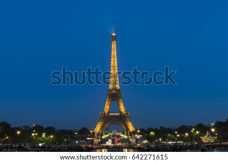 PARIS, FRANCE - MAY 8, 2017: The Eiffel Tower at Paris. The Eiffel Tower is the most visited monument of France.
