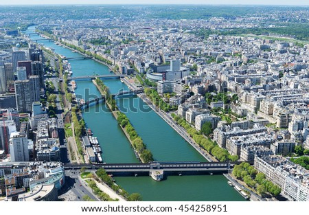 PARIS, FRANCE - MAY 6, 2016: The famous Seine River. One of the tourist attractions of Paris.