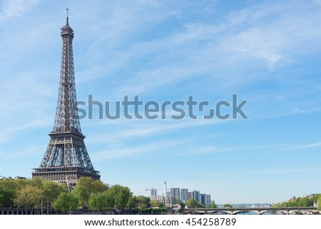 PARIS, FRANCE - MAY 6, 2016: The main tourist attraction of Paris -  Eiffel Tower.