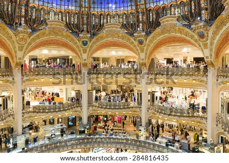 PARIS, FRANCE - MAY 29: Unknown people shopping in famous  luxury Lafayette galeries on May 29, 2015 in Paris, France - stock photo