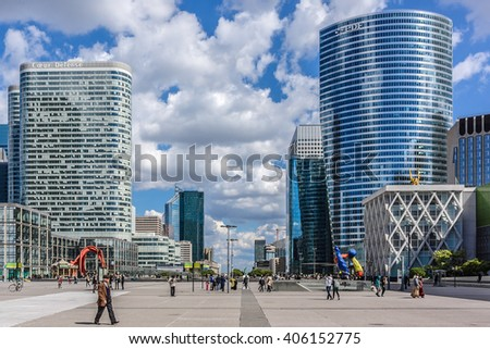 PARIS, FRANCE - MAY 14, 2014: View of business district of Defense to the west of Paris. Defense is biggest business district in France and most of large companies have offices here.