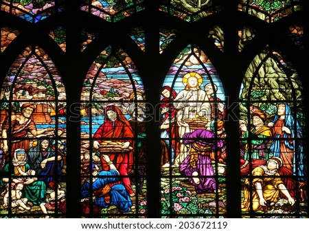 PARIS, FRANCE - NOV 09,2012:Feeding 5000 men and their families, stained glass.Church of Saint-Jean-de-Montmartre situated at the foot of Montmartre.Built from 1894 through 1904, Nov 09, 2012 in Paris - stock photo