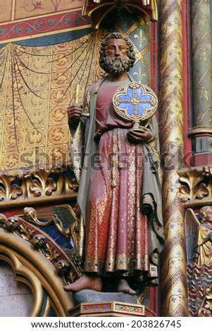 paris france nov 06 2012 statue of the apostle interiors and chapelle de la sorbonne chappelle de la