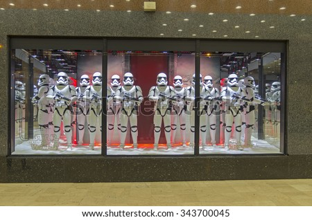 PARIS, FRANCE - NOVEMBER 18, 2015: Festive window dressing in Parisian department stores for Christmas. Star Wars storm troopers. - stock photo
