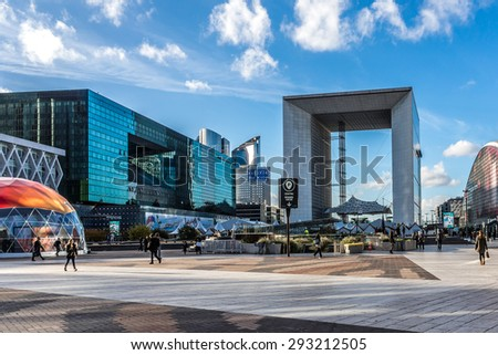 "PARIS, FRANCE - NOVEMBER 12, 2014: Grand Arch (""Grande Arche de la Defense"", 1989) - a monument in business district of Defense to west of Paris. Arch is monument to humanity and humanitarian ideals. - stock photo"