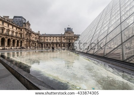 Paris France, November 2014: Holiday in France - The Louvre during winter Christmas