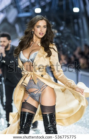 PARIS, FRANCE - NOVEMBER 30: Irina Shayk walks during the 2016 Victoria's Secret Fashion Show on November 30, 2016 in Paris, France.