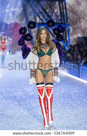 PARIS, FRANCE - NOVEMBER 30: Josephine Skriver walks the runway during the 2016 Victoria's Secret Fashion Show on November 30, 2016 in Paris, France.