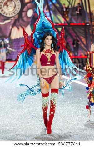 PARIS, FRANCE - NOVEMBER 30: Kendall Jenner walks the runway at the Victoria's Secret Fashion Show on November 30, 2016 in Paris, France.