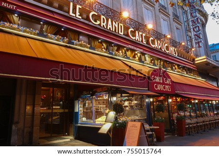 Paris Francenovember 012017 Le Grand Capucines Stock Photo 755015764 ...