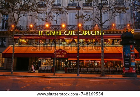 Paris Francenovember 012017 Le Grand Cafe Stock Photo 748169554 ...