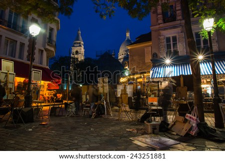 PARIS, FRANCE - 10 NOVEMBER 2014 Montmartre famous artist painting spot at night in Paris, France - stock photo