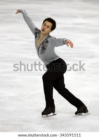 PARIS, FRANCE - NOVEMBER 16, 2013: Patrick CHAN of Canada performs free program at Trophee Bompard ISU Grand Prix at Palais Omnisports de Bercy.