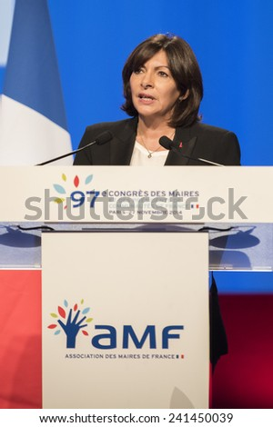 PARIS, FRANCE - NOVEMBER 27, 2014 : The Mayor of Paris Anne Hidalgo during the 97th congress of France mayors in exhibition center of porte de versailles - stock photo