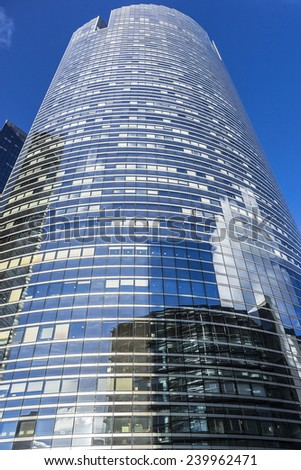 PARIS, FRANCE - NOVEMBER 12, 2014: View of Societe Generale headquarter (SG) in La Defense district, Paris. Societe Generale is a French multinational banking and financial services company. - stock photo