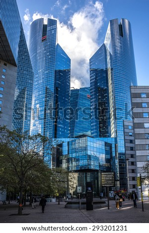 PARIS, FRANCE - NOVEMBER 12, 2014: View of Societe Generale headquarter (SG) in La Defense district, Paris. Societe Generale is a French multinational banking and financial services company.