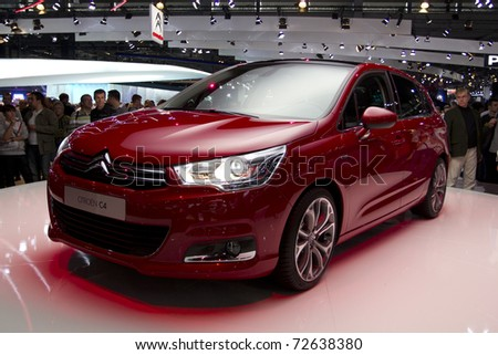 PARIS, FRANCE - OCT 10: Citroen C4 on display at the Paris Motor Show at Porte de Versailles on October 10, 2010 in Paris France.