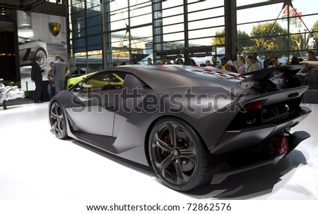 PARIS, FRANCE - OCT 10: Lamborghini Sesto Elemento limited edition (12 cars in the world) on display at the Paris Motor Show at Porte de Versailles on October 10, 2010 in Paris France. - stock photo