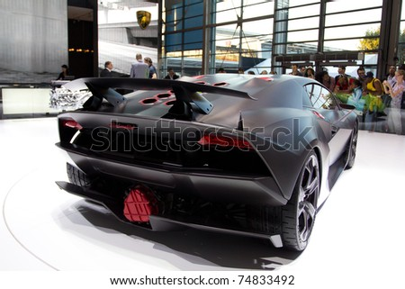 PARIS, FRANCE - OCT 10: Lamborghini Sesto Elemento limited edition (12 cars in the world) on display at the Paris Motor Show at Porte de Versailles on October 10, 2010 in Paris, France. - stock photo