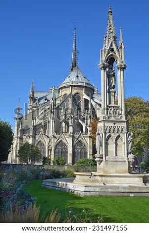 PARIS, FRANCE - OCT. 19: The Notre Dame cathedral of Paris details, France, on october 19, 2014, one of the most famous landmarks in Paris. In 2013, the cathedral celebrate its 850 years anniversary. - stock photo