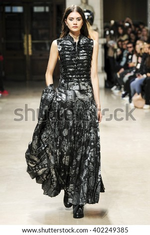 PARIS, FRANCE - OCTOBER 01: A model walks the runway during the AF Vandevorst show as part of the Paris Fashion Week Womenswear Spring/Summer 2016 on October 1, 2015 in Paris, France.  - stock photo