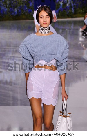 PARIS, FRANCE - OCTOBER 02: A model walks the runway during the Christian Dior show as part of the Paris Fashion Week Womenswear Spring/Summer 2016 on October 2, 2015 in Paris, France. - stock photo