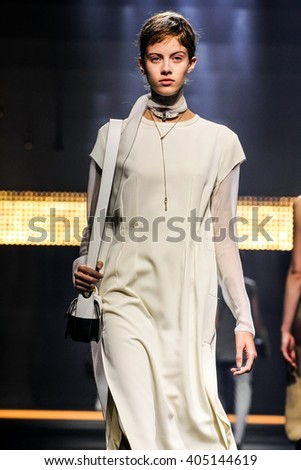 PARIS, FRANCE - OCTOBER 01: A model walks the runway during the Lanvin show as part of the Paris Fashion Week Womenswear Spring/Summer 2016 on October 01, 2015 in Paris, France.