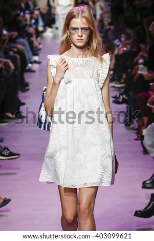 PARIS, FRANCE - OCTOBER 06: A model walks the runway during the Paul and Joe show as part of Paris Fashion Week Womenswear Spring/Summer 2016 on October 6, 2015 in Paris, France.
