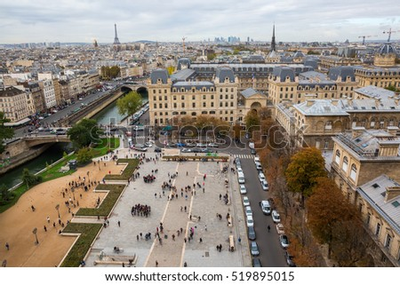 Paris, France - October 19, 2016: aerial view over the Ile de la Cite. Ile de Cite is a Seine Island, it is the centre of Paris and the location where the medieval city was refounded.