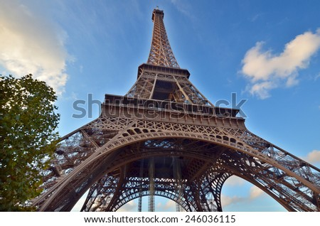 PARIS, FRANCE OCTOBER 12: Close up of the Eiffel Tower (Tour Eiffel) on october 12, 2013 in Paris, France. It was built between 1887 and 1889 for the World's Fair (Expo 1889).  - stock photo