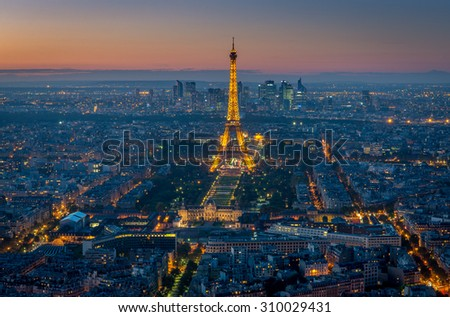 PARIS, FRANCE- OCTOBER 20, 2014: Eiffel Tower view from the top of Montparnasse tower.