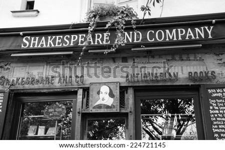 PARIS, FRANCE - OCTOBER 4, 2014: Famous Shakespeare and Company bookstore and library (specializing in English-language literature) was founded in Paris's Left Bank by American George Whitman in 1951. - stock photo