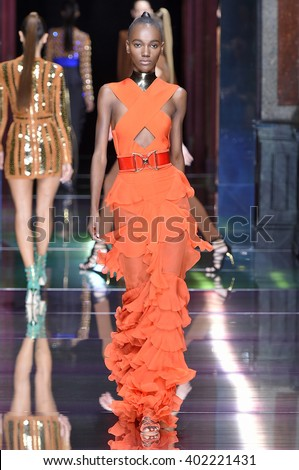 PARIS, FRANCE - OCTOBER 01: Herieth Paul walks the runway during the Balmain show as part of the Paris Fashion Week Womenswear Spring/Summer 2016 on October 1, 2015 in Paris, France. - stock photo