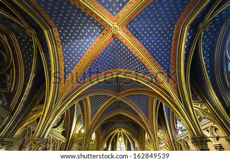 paris france october 04 2013 interiors and architectural details of the sainte chapelle chapelle de la sorbonne chappelle de la