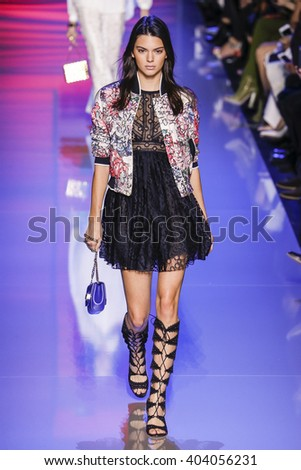 PARIS, FRANCE - OCTOBER 03:  Kendall Jenner walks the runway during the Elie Saab show as part of the Paris Fashion Week Womenswear Spring/Summer 2016 on October 3, 2015 in Paris, France.