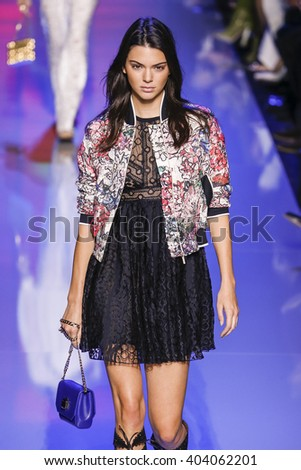 PARIS, FRANCE - OCTOBER 03:  Kendall Jenner walks the runway during the Elie Saab show as part of the Paris Fashion Week Womenswear Spring/Summer 2016 on October 3, 2015 in Paris, France.  - stock photo