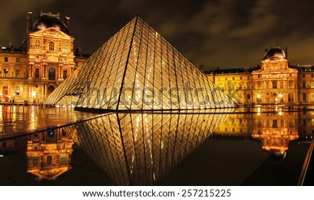 Paris, France - October 15 : Louvre museum and Pyramid at night on October 15,2010. Louvre is the biggest Museum in Paris displayed over 60,000 square meters of exhibition space.