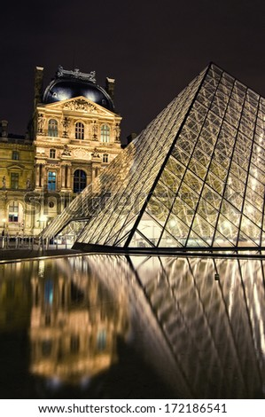 PARIS, FRANCE -OCTOBER 26: Louvre Museum by night on october 26, 2010 in Paris.