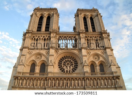 PARIS, FRANCE - OCTOBER 18: Notre Dame Cathedral in Paris, France on October 18, 2013. It is one of the oldest Gothic cathedrals in France and one of the most visited monuments in Paris.