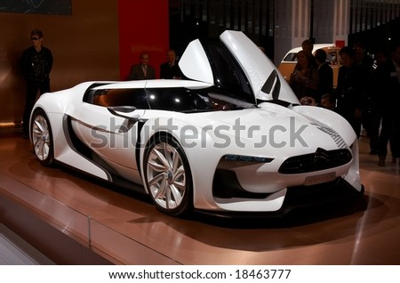 PARIS, FRANCE - OCTOBER 02: Paris Motor Show 2008, Citroen GT Concept, 3/4 front view - stock photo