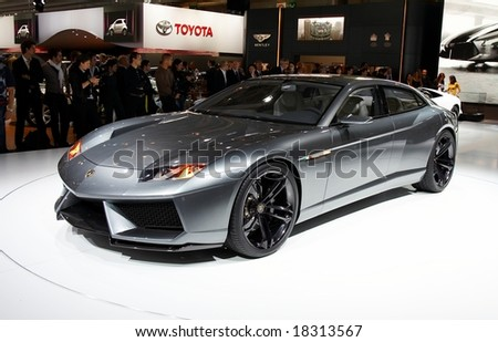 PARIS, FRANCE - OCTOBER 02: Paris Motor Show 2008, Lamborghini Estoque Concept, front view - stock photo