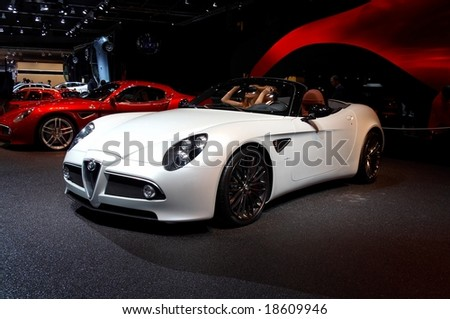 PARIS, FRANCE - OCTOBER 02: Paris Motor Show on October 02, 2008, showing Alfa Romeo 8C Competizione Spider, rear view