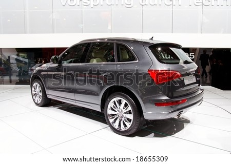 PARIS, FRANCE - OCTOBER 02: Paris Motor Show on October 02, 2008, showing Audi Q5, rear view - stock photo
